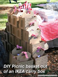 DIY Picnic basket out of an IKEA carry box http://getyourdiyon.blogspot.com.au/