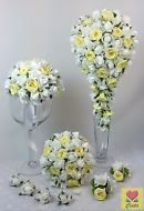 L/Yellow/White Rose Flowers Teardrop Bridal Wedding Bouquet Set cintahomedeco
