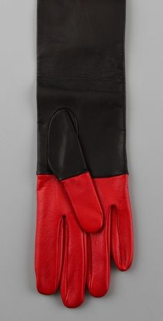 red and black gloves.