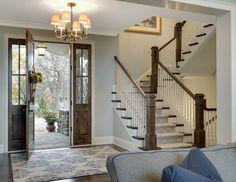 Gray Foyer Wall Ideas Design by Stonewood, LLC