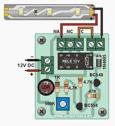 Diagrama de conexión de la célula fotoeléctrica a una tira de leds