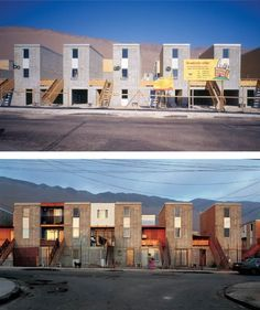 Designed initially as a basic structure (top), but given the capacity to allow owners to expand or infill between units (bottom photo). Arch House, Facade House, Sustainable Architecture, Amazing Architecture, Interior Architecture, Social Housing, Architectural Section, Affordable Housing, Urban Design