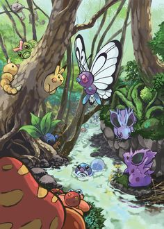 """Forest"" Grass and Poison Type Pokemon (http://www.pixiv.net/member_illust.php?mode=medium_id=29310204)"