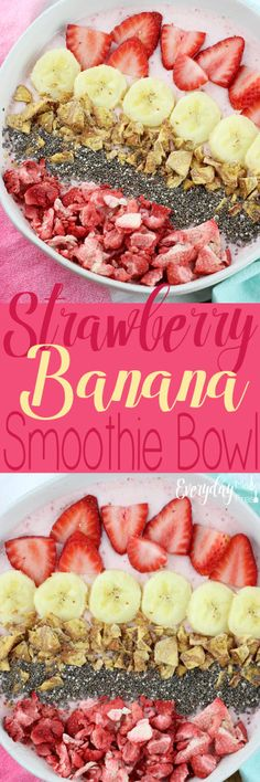 This Strawberry Banana Smoothie Bowl is easy to toss together, and tastes amazing! Totally filling, and topped with all the things you want to crunch on! Easy Smoothie Recipes, Easy Smoothies, Breakfast Smoothies, Breakfast Bowls, Fruit Recipes, Fruit Smoothies, Brunch Recipes, Breakfast Recipes, Yogurt Recipes