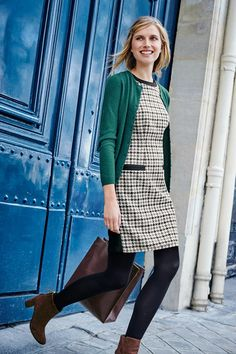 HEATHER TWEED DRESS - You just can't go wrong with a tweed shift dress crafted from pure wool, sourced from Yorkshire's historic Abraham Moon & Sons mill. It may look simple at first glance, but this clever little number is working hard behind the sc Outfits Otoño, Winter Dress Outfits, Cardigan Outfits, Dress With Cardigan, Fashion Outfits, Work Outfits, Fashion Trends, Shift Dress Outfit, Tweed Dress