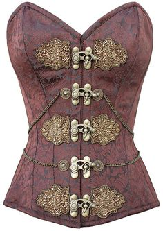The Violet Vixen - The Brass Princess, $134.02 (http://thevioletvixen.com/corsets/the-brass-princess/) This gold brocade corset has brass chain details and rich embroidery divine for a sexy steam-punk princess.