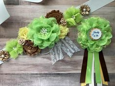 ❥Welcome to Belly Boutique Crafts!❥ ♥ Proud to be listing this beautiful green, brown and yellow maternity sash for Gender Reveal Parties. The sash features pearls, rhinestones, lace, fabric flowers perfect for beautifying your belly for your gender reveal party, baby shower or