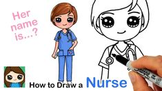 How to Draw a Nurse ❤️ Health Care Provider Cute Kawaii Drawings, Kawaii Doodles, Cartoon Drawings, Nurse Drawing, Human Figure Drawing, Cute Girl Drawing, Pony Drawing, Photo New, Art