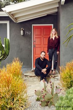 Amanda Thomas and husband Pat outside their gorgeous Los Angeles home