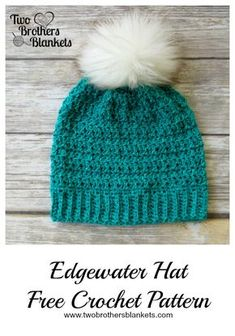 Edgewater Hat- Free Crochet Pattern by Two Brothers Blankets! Hats for women Edgewater Hat Free Crochet Pattern - Two Brothers Blankets Bonnet Crochet, Crochet Beanie Pattern, Crochet Mittens, Crochet Scarves, Crochet Clothes, Crochet Stitches, Crochet Baby, Crochet Toddler Hat, Crochet Blankets