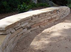 The 2 Minute Gardener: Photo - Dry Stack Flagstone Seating Wall