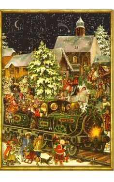 Victorian Christmas Train German Advent Calendar Countdown Made in Germany for sale online Christmas Train, German Christmas, Christmas Scenes, Christmas Past, Victorian Christmas, Winter Christmas, Christmas Chocolate, Father Christmas, Vintage Christmas Images
