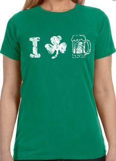 St Patricks Day Shirt I Love Beer Womens T shirt Funny by ebollo