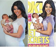 Photoshop: creating unrealistic expectations of post-baby bodies.  (click to see real, untouched photos)
