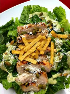 Salad - Mexican Caesar Salad (With Cilantro Pepita Dressing) - Dishing with Leslie.