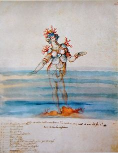 "Costume for a sea nymph from the intermezzo ""La Pellegrina"" (1589) by the architect Bernardo Buontalenti. The play was performed at the wedding of Ferdinando I of Medici and Christine of Lorraine."