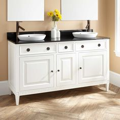 "60""+Hawkins+Mahogany+Double+Vanity+for+Semi-Recessed+Sink+-+White"