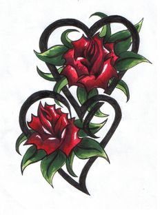flower hearts tattoos - Google Search