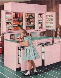 GE Refrigerator from Better Homes and Gardens 1957 cool very retro Kitchen Retro, Vintage Kitchen, Retro Pink Kitchens, Mini Kitchen, Kitchen Modern, Vintage Pink, Vintage Decor, Design Retro, Regal Design