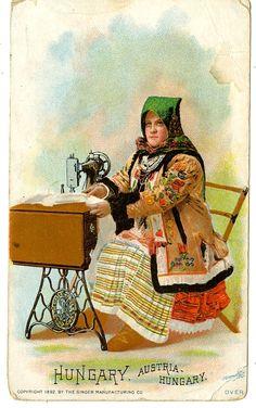 Singer Sewing Machine's World, 1892, Hungary Trade Card