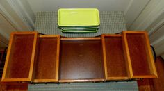 Vintage Relish Dish Fold Away Buffet Wood Serving Trays With SIX Dishes Pottery | eBay