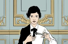 Audrey Tautou as the young Coco Chanel in Anne Fontaine. Illustration  ADRIAN TOMINE