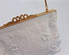 Jahrgang Elfenbein Pearl Perlen Abend Tasche von AGoddessDivine