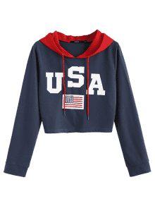 0ddb36aeb American Flag Patriotic Graphic Crop Hoodie