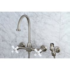 Kingston Brass Restoration Wall Mount Double Handle Kitchen Faucet with Side Spray Finish: Brushed Nickel Wall Mount Kitchen Faucet, Bar Sink Faucet, Bar Faucets, Brass Faucet, Kitchen Sink Faucets, Kitchen Handles, Kitchen And Bath, Kingston Brass, Planer
