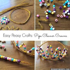 Easy peasy pipe cleaner crowns, perfect for a birthday, princess party or tea party!