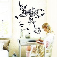 Amaonm Removable Black Nursery Flowers Wall Stickers Murals Butterfly Flower Vine Wall Corner Decals DIY art Decor For Baby Kids Girls Bedroom Living room Classroom Offices wall Decorations * You can get more details by clicking on the image.