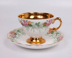 Rosina Teacup and Saucer Fine Bone China Pink by LeVintageGalleria, $26.00