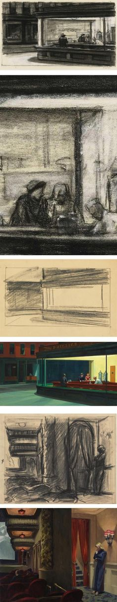 "Edward Hopper (b. 1882 - d. American), Preliminary Studies and Preparation for the paintings: ""Nighthawks"", ABOVE, and ""New York Movie"", UNDER. Edward Hopper, Illustration Art, Illustrations, Whitney Museum, Banksy, American Artists, Les Oeuvres, Art History, Colors"