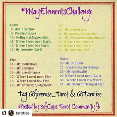 #Repost @tarotize with @repostapp ・・・ Looking forward to this next. We start on the 8th for a bit of a breather between challenges and for people to have time to catch up on the #3ofCupsTCchallenge  #MayElementsChallenge #tarotchallenge #tarotreadersofinstagram  @firerose_tarot