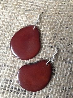 Brown tagua earrings Statement Earrings Big by GalapagosTagua