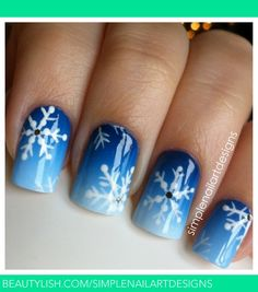 Pinned by www.SimpleNailArtTips.com CHRISTMAS NAIL ART DESIGN IDEAS -  Snowflake Nails, gradient in blue