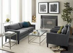Inspired to copy the layout of furniture in front of fireplace.