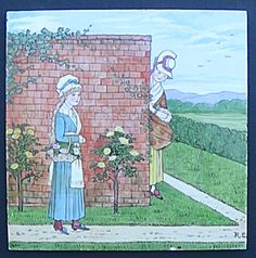 Hand Painted Minton Tile - Woman Picking Roses Garden Minton Tiles, Antique Tiles, Roses Garden, Rose Bush, Tile Art, Brick Wall, Making Out, Mosaic, Hand Painted