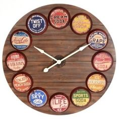Find old bottle caps, wood and go to craft store and get arms for clock and done!!!!