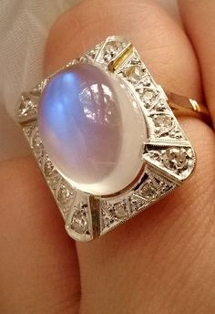 Art Deco DIAMOND Blue MOONSTONE 18K Platinum