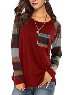 Women's Casual Long Sleeve Round Neck Red Loose Tunic T Shirt With Poc – Sampeel Street Style Women, Street Styles, Tunic, Spandex, Long Sleeve, Women's Casual, Stylish, T Shirt, Jeans
