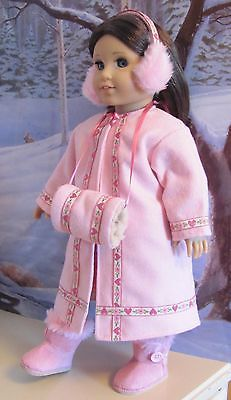 Pink Winter coat outfit American girl dolls & others too. Gotz & My Twinn.