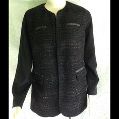 Chico's Black Sparkle Blazer Size 1 Women's 8-10 This jacket is simply gorgeous! It has quite a bit of texture and a lot of sparkle. There are no buttons or hooks on this, it just lays flat. Must be worn with something underneath unless you are wild! Made of polyester, viscose, nylon, in the bit of spandex. If you are not familiar with Chicos sizing, please note that this label says size 1, however, that is closer to their medium or a women's size 8 to 10. Measurements are taken lying flat…