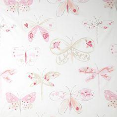 Caselio Vlinderbehang in roze beige wit Fancy Nancy, Room Wallpaper, Fabulous Fabrics, Paper Design, Baby Room, Taupe, Kids Room, Shabby, Pattern