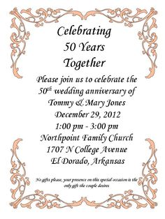 50th Anniversary Party Wedding Decorations Invitations Celebration