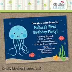 Under the Sea Birthday Jellyfish - Printable Digital Invitation - Personal Use Only. $10.00, via Etsy.