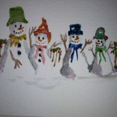 Custom watercolor Christmas cards. Can personalize with number of snowmen, colors used, sport logos, etc.