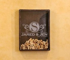 18x24 Wine Cork Holder Wall Decor Art / Personlized Wedding Gift - Made To Order With your Name and Wedding Date