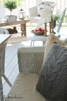 Fall Porch City Farmhouse Wicker Sofa With Pillows & Seating