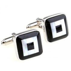 Unique Optic Fiber White and Black Cufflinks